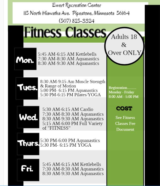 Ewert Rec Center Fitness Classes