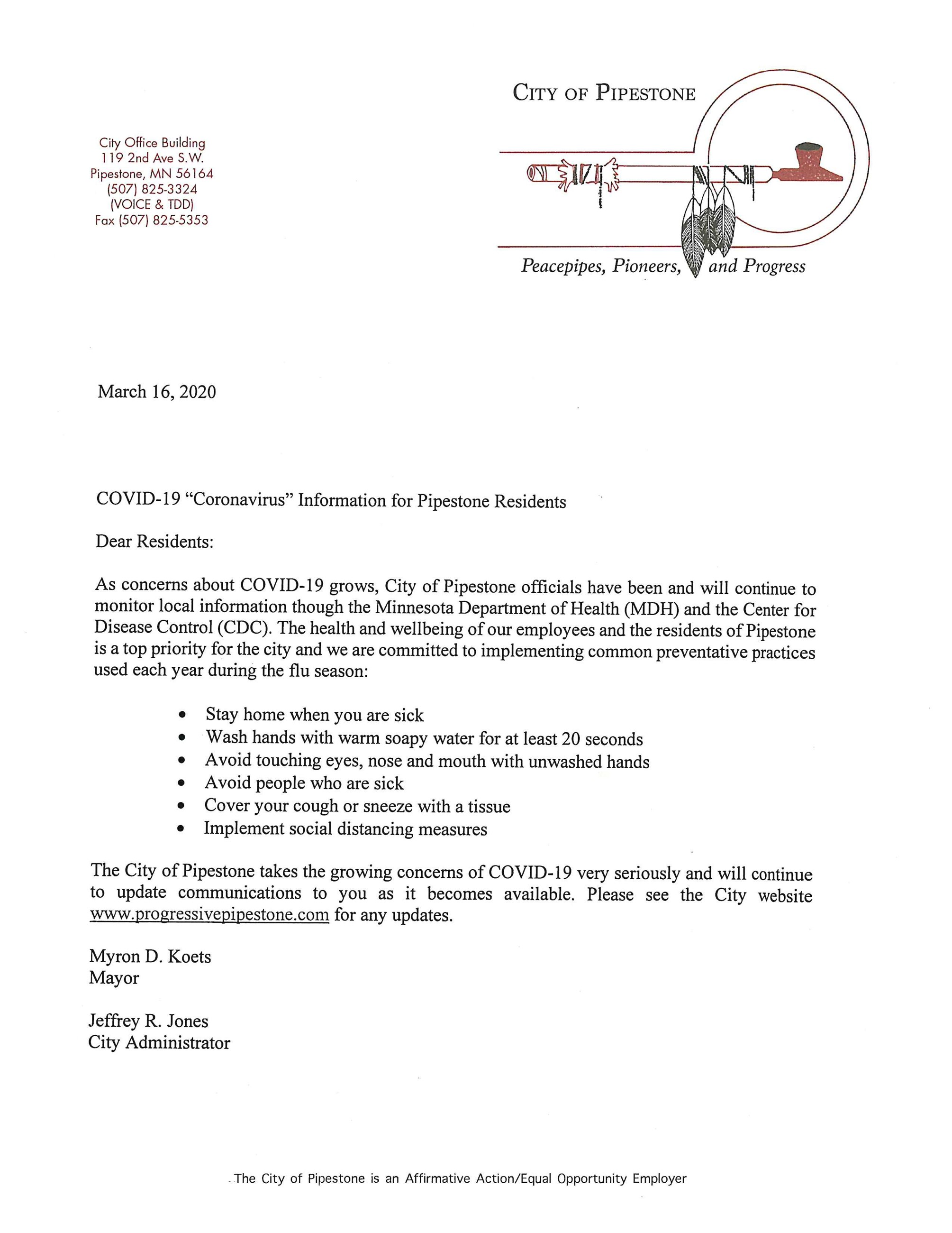 Letter from Pipestone Mayor and City Administrator regarding COVID-19