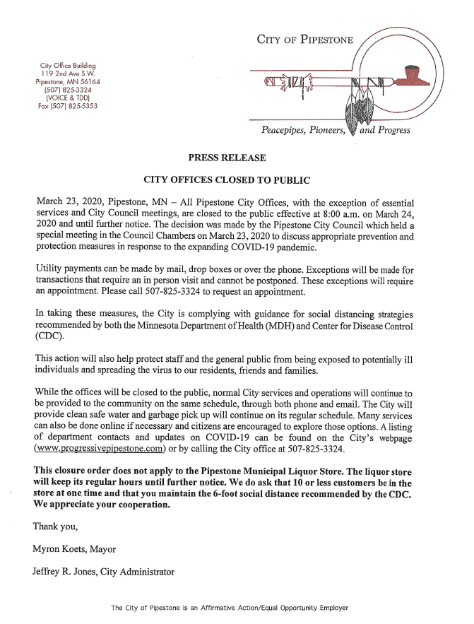 City of Pipestone Press Release-COVID19